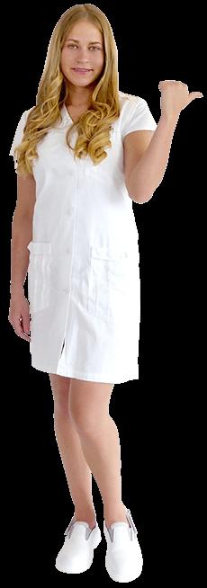Schwester Danielle Kleid Arme in der Hüfte