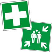 Erste Hilfe Zeichen, Brandschutzzeichen, Fluchtwegschilder und vieles mehr